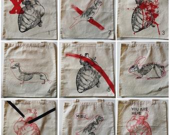 Tote bag, heart, dog, screen print.