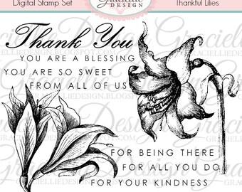 Thankful Lilies - Digital Stamp Set