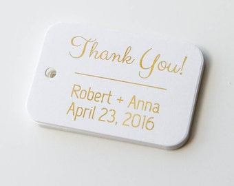 Thank You Wedding Tags, Gold Foiled Wedding Favor Thank you Tags, Small Wedding Favor Tags (RR-003-F)