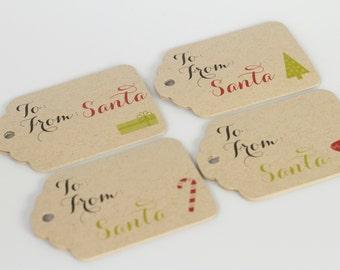 Christmas Tags, 24 Christmas Tags, Santa Christmas Gift Tags (ST-112-KR)