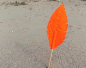 Orange Felt Quill FEATHER Pencil Topper, Orange Feather, Vegan