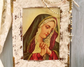 Vintage Virgin Mary textured print distressed frame