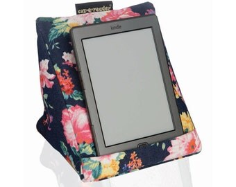 Kindle stand - Navy Floral e-reader cushion. e-reader stand