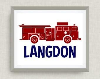 Firefighter Name Art, Custom Name Art - Custom Nursery Art - Pick your colors!