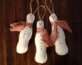 New, handmade primitive, country snowmen tree ornaments
