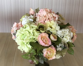 Hydrangea and Rose Arrangement  Centerpiece Elegant   Formal Pastel  Wedding