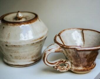 Handmade Ceramic Cup and Jar Set - Beige/Brown