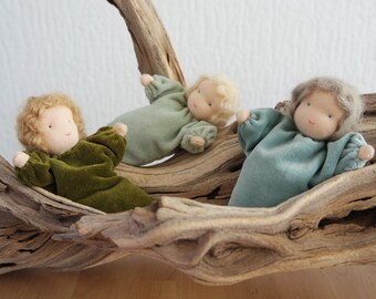 New colors! Green Root Children for the Nature Table of Spring - Waldorf inspired