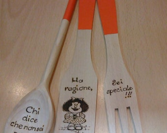 Wooden spoons in Orange