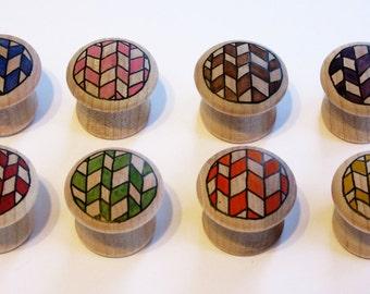 "Geometric – Wood Furniture Knobs – Small (1"" Diameter) - Set of 8"