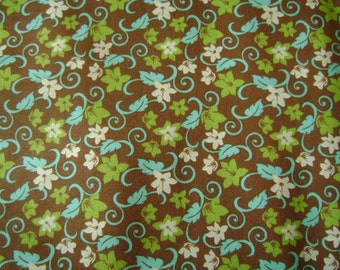 Floral on Brown Cotton Fabric by the yard