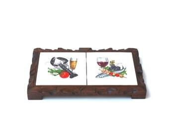 Made in Mexico Carve Wood Tile Trivet , Lobster Dinner Decor , Seafood Tableware , Mexican Trivet , Rustic Trivet , Hot Plate Holder