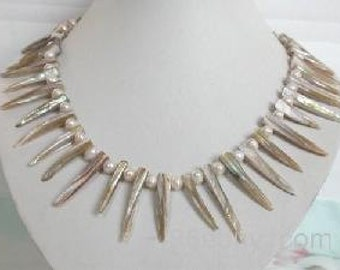 Handmade Tribal Style Spiky Shell and Pink Pearl Necklace and Earrings