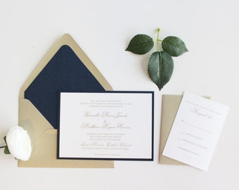 Navy and Gold Wedding Invitations, Wedding Invitations, Navy, Gold, Modern, DEPOSIT to get started