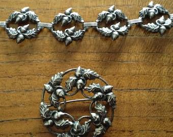 Vintage Sterling Danecraft Acorn Brooch and Bracelet Set