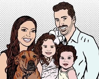Custom Family Portrait in the POP ART Style for Digital Use and Personal Print / Roy Lichtenstein Style / Personalized / Custom Background