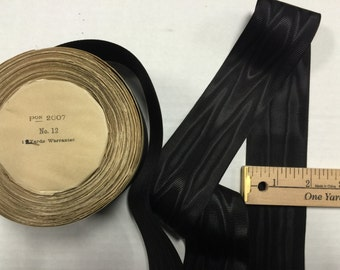Black Moire  Silk Cotton Grosgrain Petersham Millinery Ribbon, Moire Ribbons, Black Moire. Sold by the yard OR Roll.