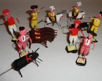 Set of 11 Vintage Miniature Mexican Clay Figures Bullfighting