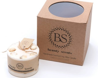 Beauty Scents Handmade Soy Wax Candle with sea Shells