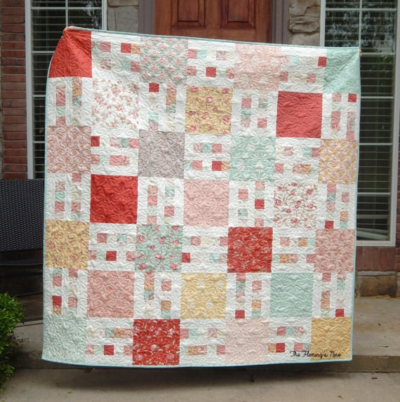 Layer Cake Quilt Patterns Easy : Picket Fence Quilt Pattern PDF Easy Layer Cake Yardage