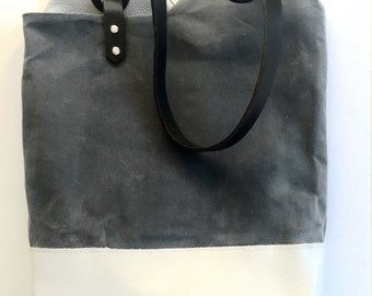 Waxed Canvas and Leather Tote Charcoal/Light Grey