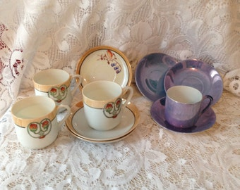 Mini china tea cups and saucers Mix and Match