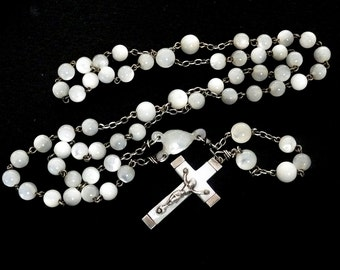 Vintage French Mother of Pearl Rosary, Vintage MOP rosary, Mother of Pearl Rosary
