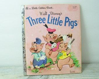 Walt Disney's Three Little Pigs Vintage Little Golden Book Children's Book Disney Golden Book Milt Banta Al Dempster 1980 106-43