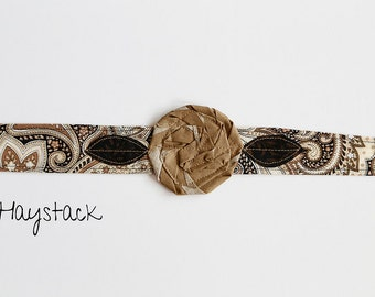 Unique christmas gift; haystack - Fabric Flower Headband, Headband with Flower, Fabric Rosette Headband, Fabric Headwrap, Paisley Headband