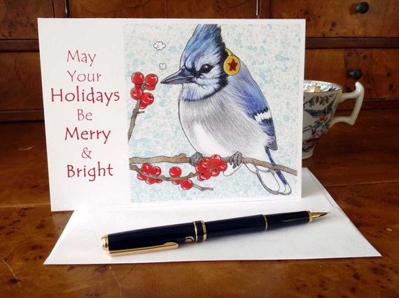 Blue Jay card may your holidays be merry and bright