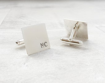 Square Sterling Silver Mens Cufflinks