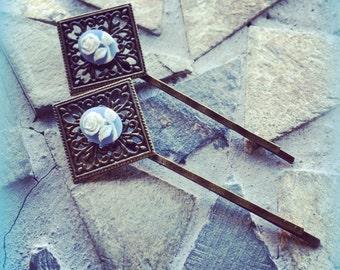 Floral Blue Antiqued Brass Filigree Bobby Pin Set