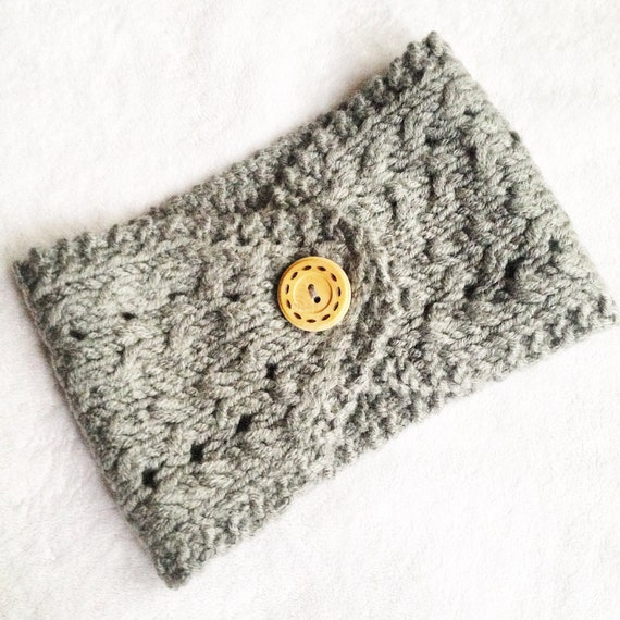 Knit Pattern Headband With Button Closure : Hand Knit Ear Warmer with Button Closure/ Knit by LinksandCo