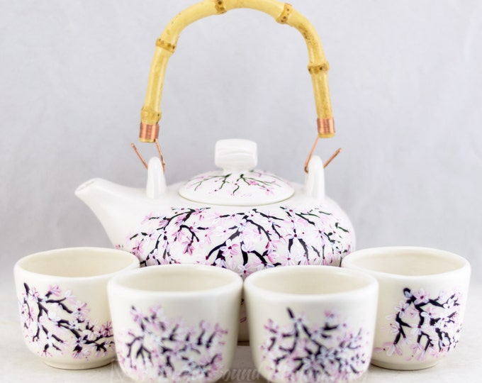 Featured listing image: Teapot Set (6) Ceramic - Bamboo Handle - Cherry Blossom Design - Hand Painted