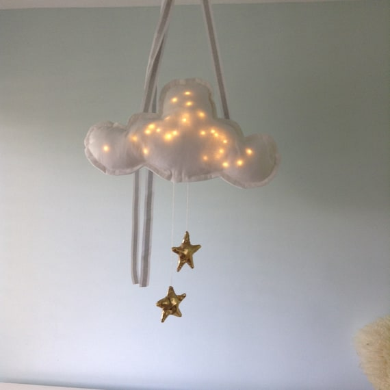 Star Cloud Mobile  -Mobiles & Garlands - Kids Baby Night Light Mobile with Dangling Stars