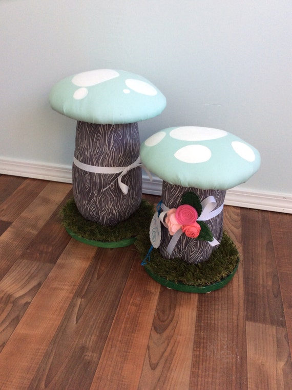 Mushroom Stools, Handcrafted Wooden Stools, Upholstered kids seats, Sea Foam Robins Egg Blue Toadstool Pair of two 2