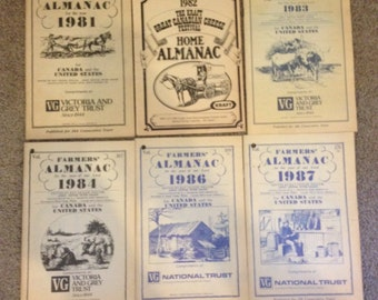 Vintage Farmer's Almanac books and 1 Home Almanac Book 1980s