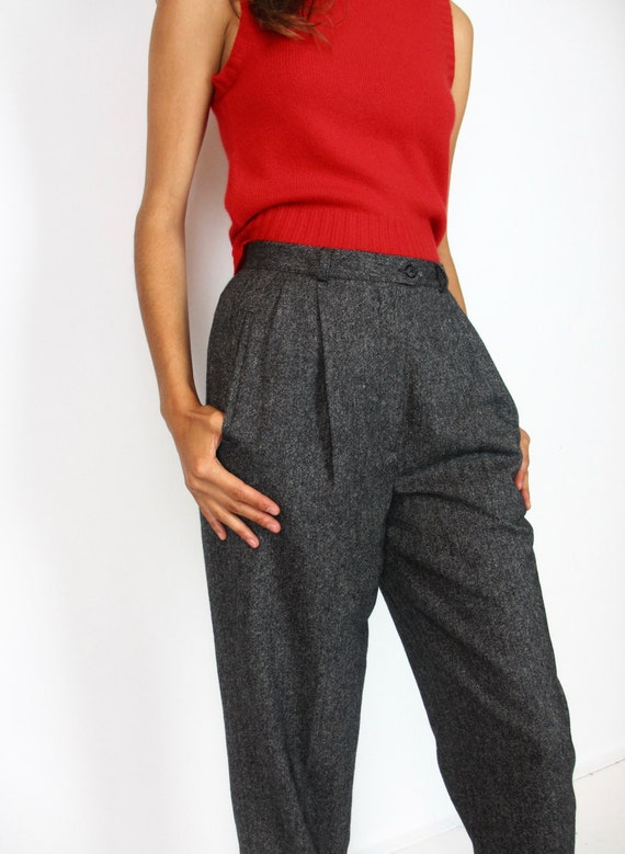 """Tweed high-rise pants / S / 26 1/2"""" waist / size 2-4 / high waisted pleated vintage 90s Ralph Lauren winter wool relaxed fit tapered leg"""