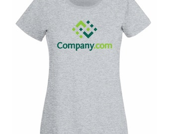 Womens Personalized T-Shirt with Company Logo Design / Organization Logotype Shirts / Team Symbol Shirt + Free Random Decal
