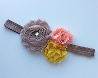 Grey baby headband- pink - baby headband - headband collection