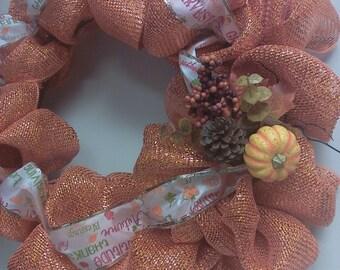 Orange You Cute Geo Mesh Fall Wreath