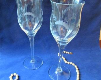 Etched Crystal Wine Glasses Champagne Glasses Wedding Toasting Stemware Barware Vintage