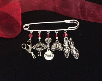 Outlander Inspired, Claire in France Kilt Pin - With THAT Red Dress Crystals