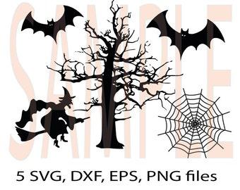 Halloween Witch, Bat, Tree, spiderweb SVG ,DFX, eps, png monogram clip-art pack vector files.