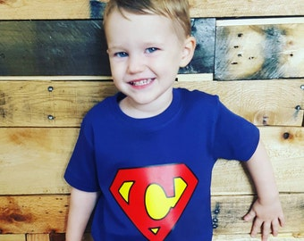 Custom Superman Logo Vinyl Shirt or Baby One Piece