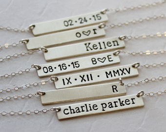 Personalized Sterling Silver Bar Necklace, Name Plate Bar Necklace, Custom Hand Stamped Bar, Bridesmaid Gift, Birthday, Wedding, Anniversary