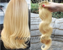 18 Inches Light Ash blonde Color Indian Remy Clips in Hair Extensions RHS058