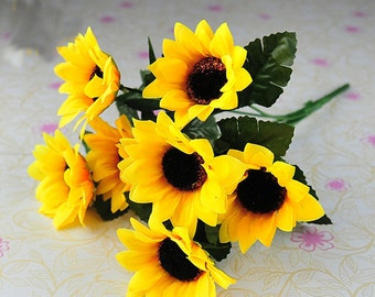 7 flowers on 1 Bouquet Home Party Decor Display Artificial Silk Flower Simulation Sunflower Bouquet DIY artificial flowers
