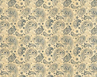 Color of Freedom, Ivory Paisley, cotton fabric, by Wilmington Prints