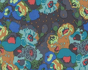Mod Corsage, Peonies in Swamp Brown and Blue cotton fabric, by Anna Maria Horner